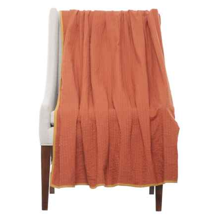"Stitch & Shuttle Kantha Throw Blanket - 54x84"" in Paprika - Closeouts"