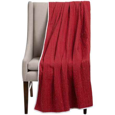"""Stitch & Shuttle Kantha Throw Blanket - 54x84"""" in Red - Closeouts"""