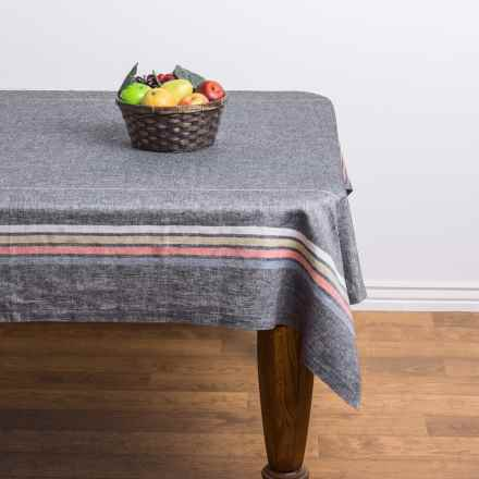 "Stitch & Shuttle Linen Stripe Tablecloth - 60x90"" in River - Closeouts"