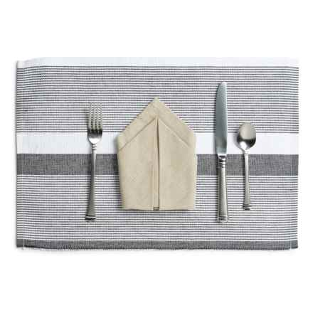 "Stitch & Shuttle Ribbed Placemat - 19x13"" in Greyscale - Closeouts"