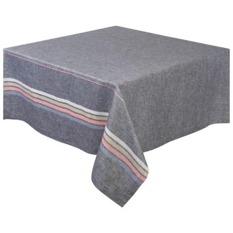 "Stitch & Shuttle River Linen Tablecloth - 55x55"" in Multi"