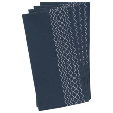 Stitch & Shuttle Stitchwork Napkins - Set of 4 in Indigo - Closeouts