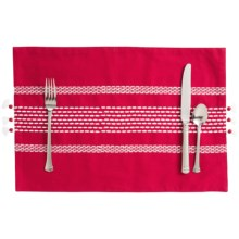 Stitch & Shuttle Stitchwork Placemat in Scarlet - Closeouts