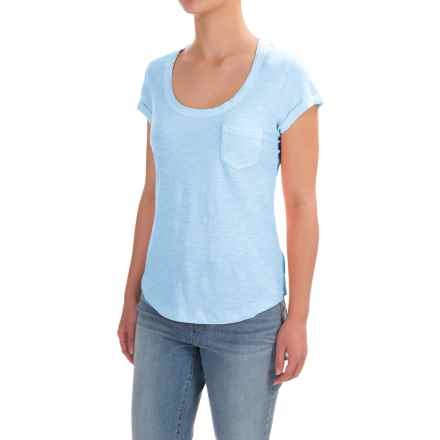 Stitched Scoop Neck Cotton Slub T-Shirt - Short Sleeve (For Women) in Blue - 2nds
