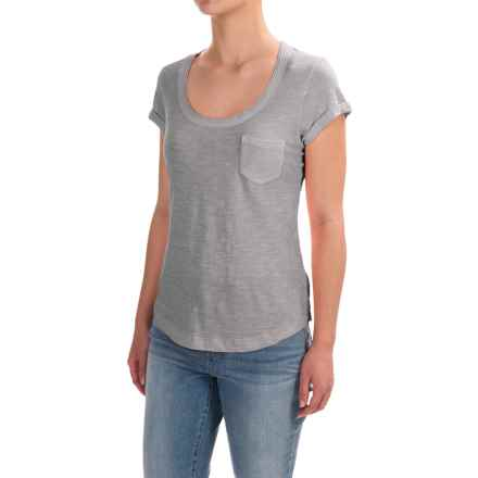 Stitched Scoop Neck Cotton Slub T-Shirt - Short Sleeve (For Women) in Mint - 2nds