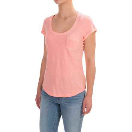 Stitched Scoop Neck Cotton Slub T-Shirt - Short Sleeve (For Women) in Orange - 2nds