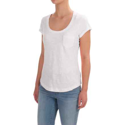 Stitched Scoop Neck Cotton Slub T-Shirt - Short Sleeve (For Women) in White - 2nds
