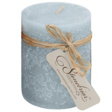 """Stonebriar Collection Textured Pillar Candle - 4x3"""" in Light Denim - Closeouts"""