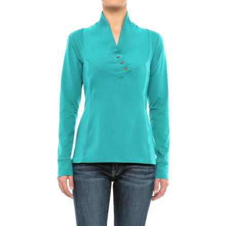 Stonewear Designs Exhale Shirt - Button Neck, Long Sleeve (For Women) in Vine - Closeouts