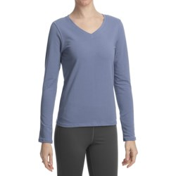 Stonewear Designs Shimmy Shirt - Organic Cotton, V-Neck, Long Sleeve (For Women) in Stream