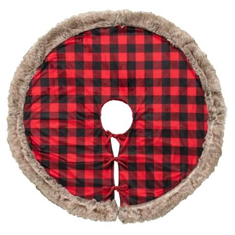 storehouse buffalo faux fur tree skirt 52 in redblack - Black Christmas Tree Skirt