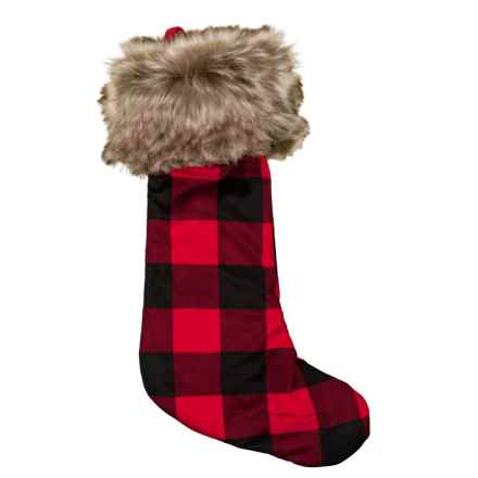 "Storehouse Buffalo Fur Stocking - 22"" in Red/Black - Closeouts"
