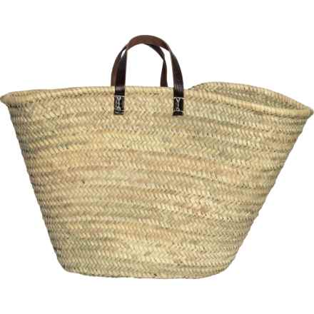 Straw Studios Made in Morocco Straw Tote Bag with Short Handles (For Women) in Neutral/Brown