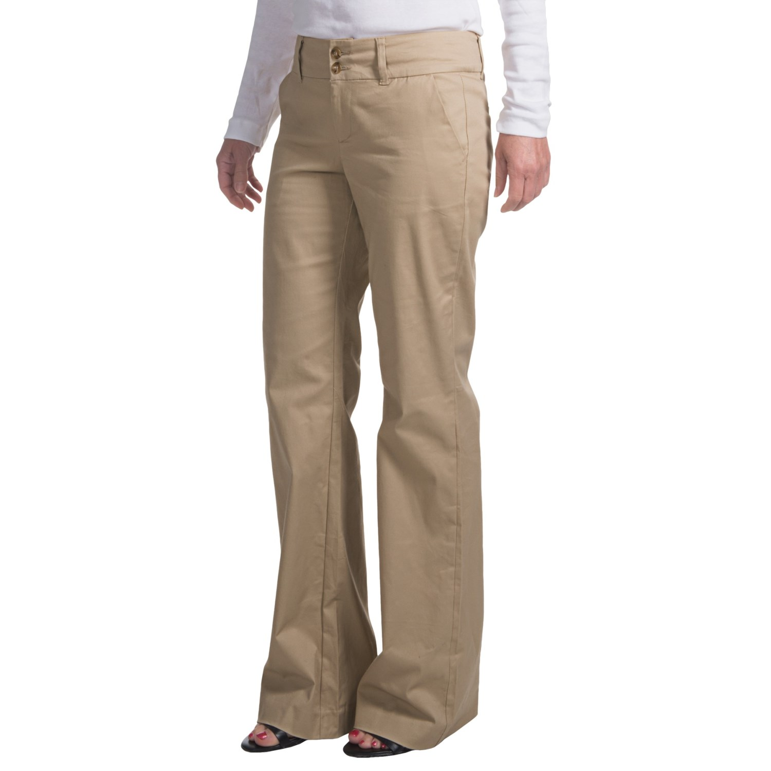 womens stretch khaki pants - Pi Pants