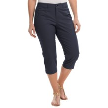 Stretch Cotton Capris (For Women) in Navy - 2nds