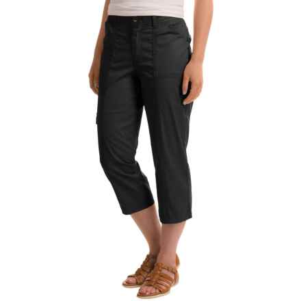 Stretch Cotton Cargo Capris (For Women) in Black - 2nds