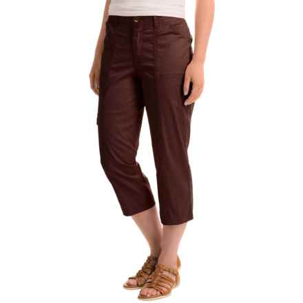 Stretch Cotton Cargo Capris (For Women) in Coffee - 2nds