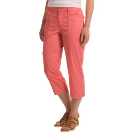 Stretch Cotton Cargo Capris (For Women) in Coral - 2nds