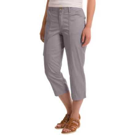 Stretch Cotton Cargo Capris (For Women) in Grey - 2nds