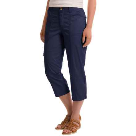 Stretch Cotton Cargo Capris (For Women) in Navy - 2nds