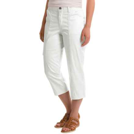 Stretch Cotton Cargo Capris (For Women) in White - 2nds