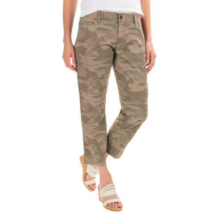 Stretch Cotton Cargo Capris - Mid Rise (For Women) in Camo - 2nds