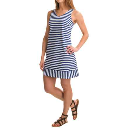 Stretch Cotton Dress - Sleeveless (For Women) in Blue Stripe - 2nds