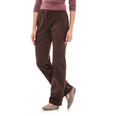 Stretch Cotton Four-Pocket Pants (For Women) in Chocolate