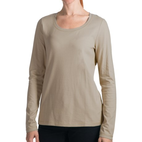 Stretch Cotton Knit Shirt - Long Sleeve (For Women) in Cinder Grey