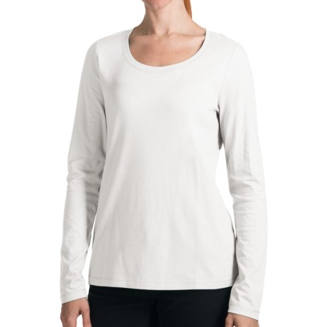Stretch Cotton Knit Shirt - Long Sleeve (For Women) in White