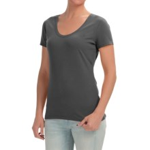 Stretch Cotton Knit Shirt - Scoop Neck, Short Sleeve (For Women) in Gray - 2nds