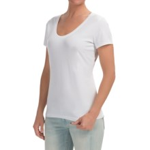 Stretch Cotton Knit Shirt - Scoop Neck, Short Sleeve (For Women) in White - 2nds