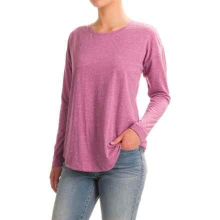Stretch Cotton Knit T-Shirt - Crew Neck, Long Sleeve (For Women) in Pink - 2nds