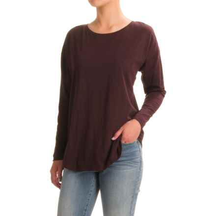 Stretch Cotton Knit T-Shirt - Crew Neck, Long Sleeve (For Women) in Wine - 2nds