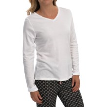 Stretch Cotton Lounge Shirt - Long Sleeve (For Women) in Snow White - 2nds