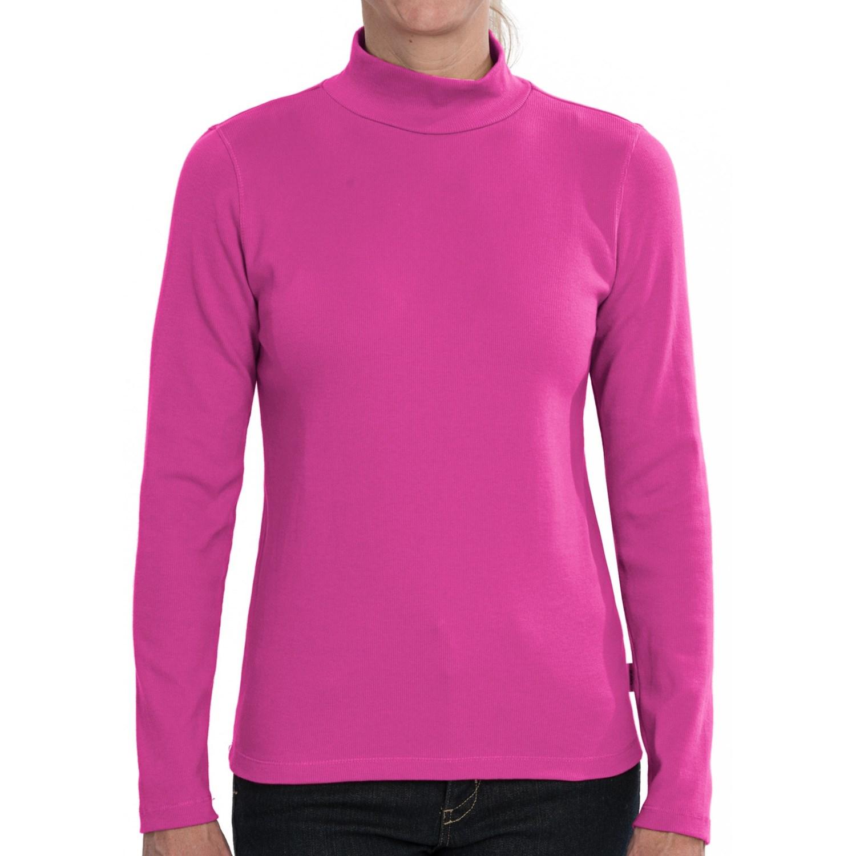 Stretch Cotton Mock Neck Shirt Long Sleeve For Women