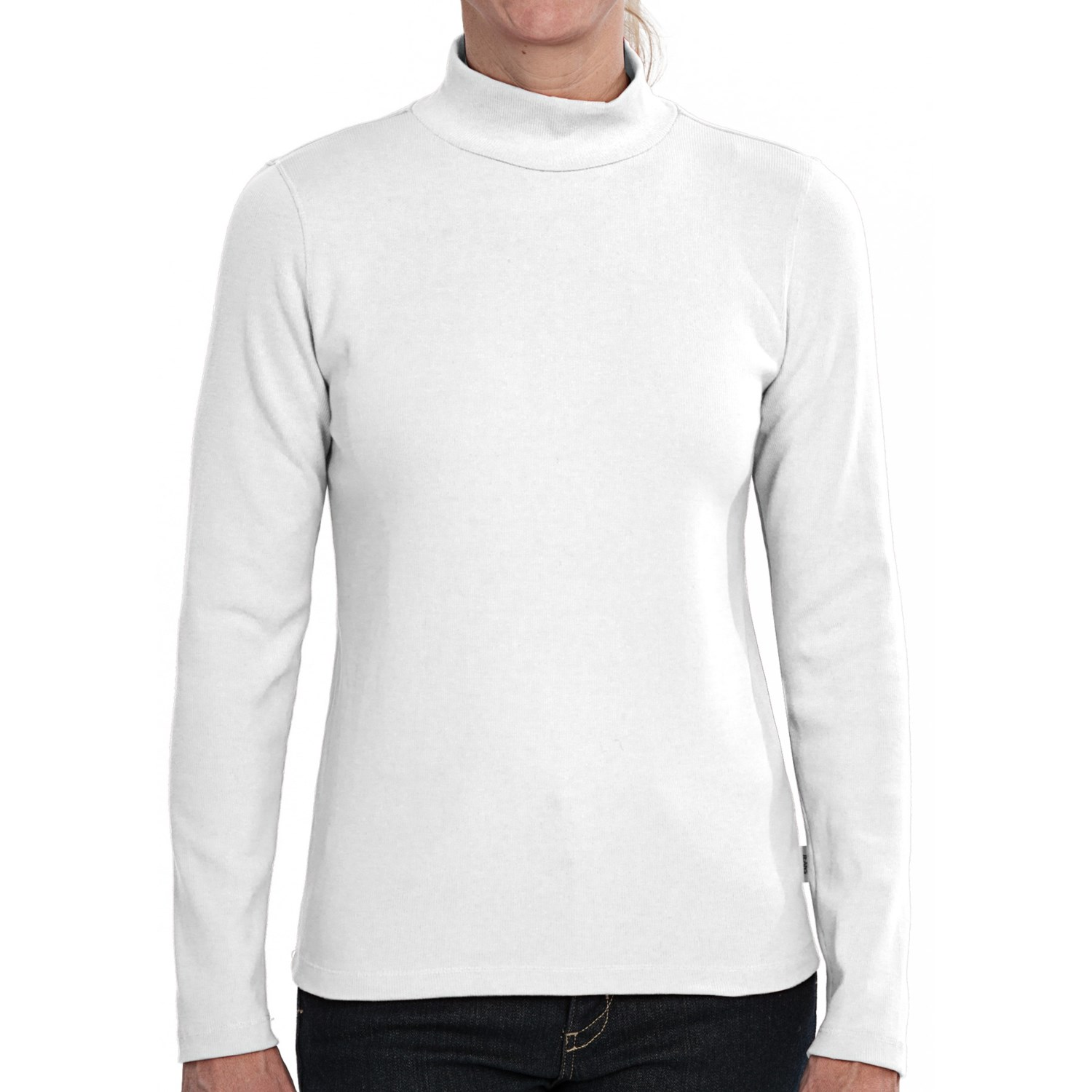 Stretch cotton mock neck shirt long sleeve for women for Ladies mock turtleneck shirts