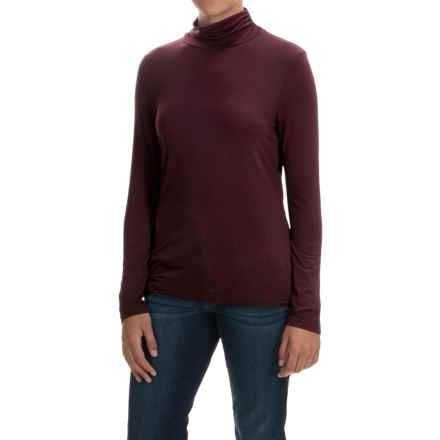 Stretch Cotton Mock Turtleneck - Long Sleeve (For Women) in Burgandy - 2nds