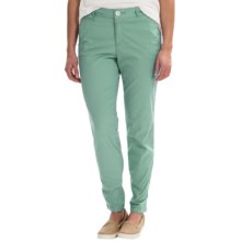 Stretch Cotton Pants - Flat Front (For Women) in Aqua - 2nds