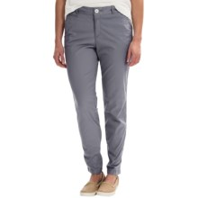 Stretch Cotton Pants - Flat Front (For Women) in Blue Grey - 2nds