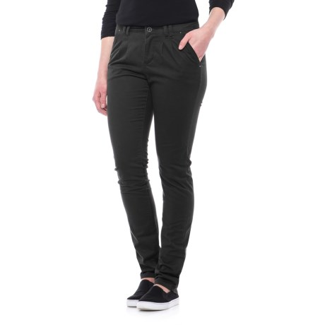Stretch Cotton Pants - Straight Leg (For Women) in Black