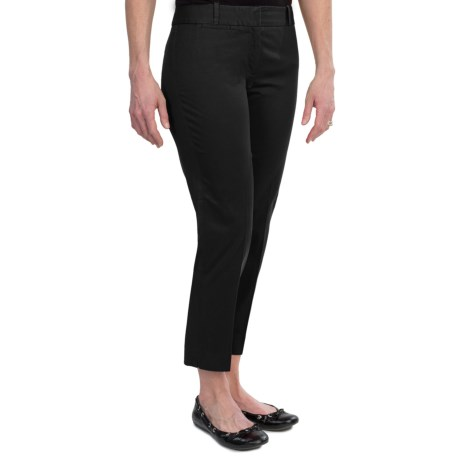 Stretch Cotton Sateen Ankle Pants (For Women) in Black