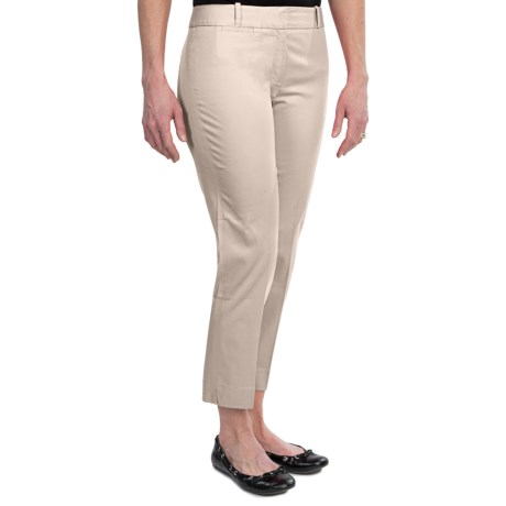Stretch Cotton Sateen Ankle Pants (For Women) in Plester