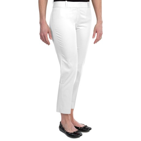 Stretch Cotton Sateen Ankle Pants (For Women) in White