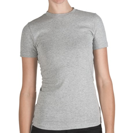 Stretch Cotton Shirt - Crew Neck, Short Sleeve (For Women) in Heather Grey