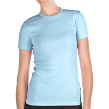 Stretch Cotton Shirt - Crew Neck, Short Sleeve (For Women) in Light Blue - 2nds