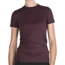 Stretch Cotton Shirt - Crew Neck, Short Sleeve (For Women) in Maroon - 2nds