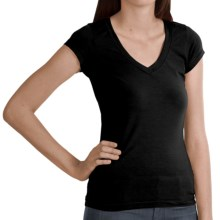Stretch Cotton Shirt - V-Neck, Short Sleeve (For Women) in Black - 2nds