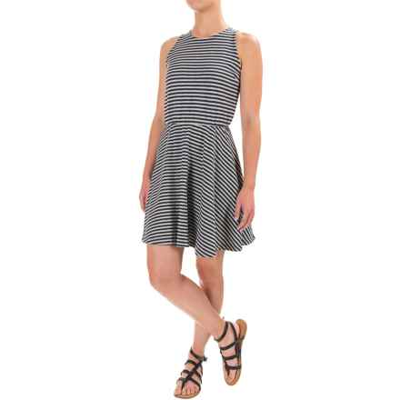 Stretch Cotton Skater Dress - Sleeveless (For Women) in Navy/Grey Heather Stripe - 2nds