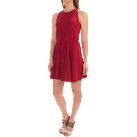 Stretch Cotton Skater Dress - Sleeveless (For Women) in Red - 2nds